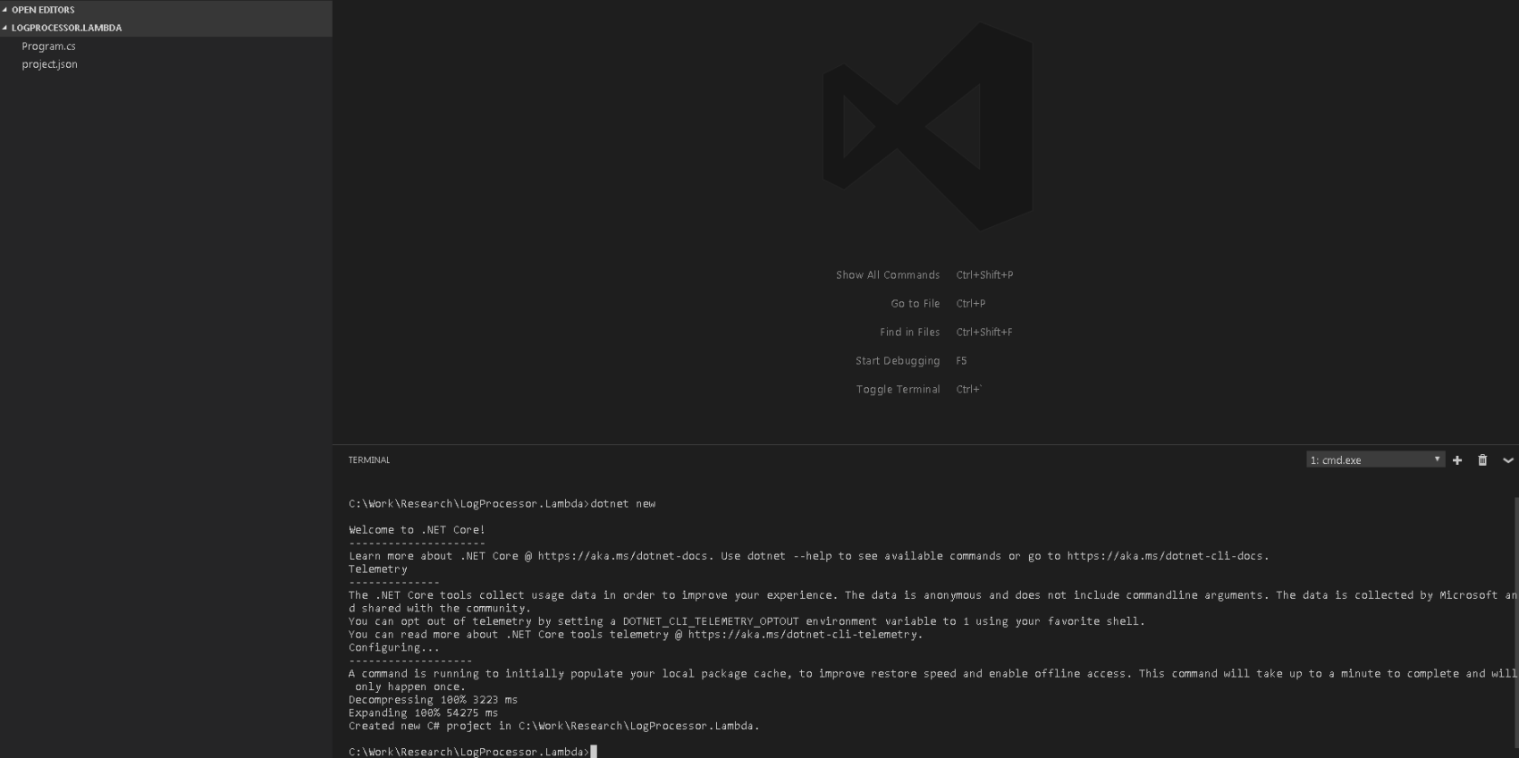 Screenshot of initialize .net