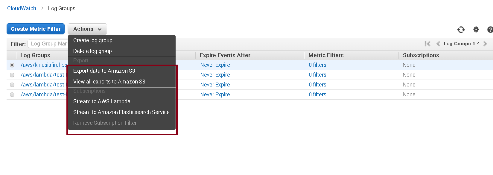 Cloudwatch export options